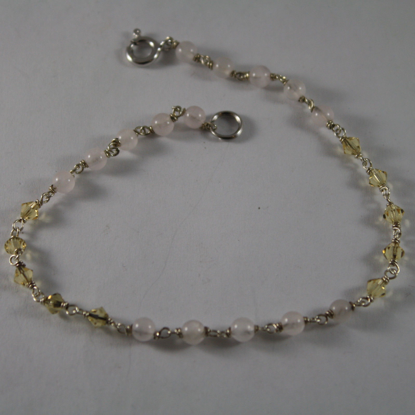 .925 RHODIUM SILVER BRACELET / ANKLE  WITH PINK QUARTZ AND YELLOW CRYSTALS
