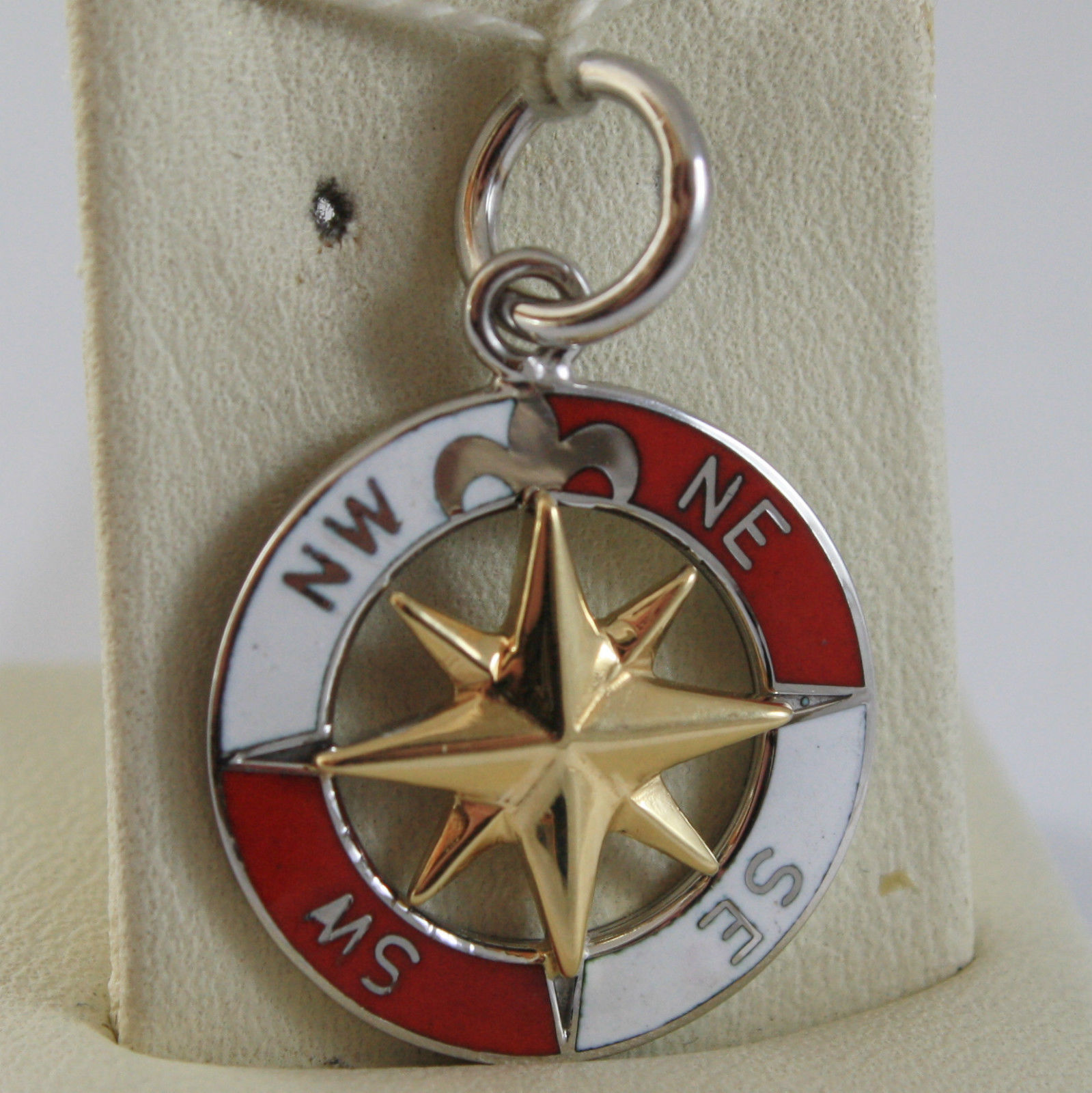 SOLID 18K WHITE AND YELLOW GOLD PENDANT, WIND'S COMPASS, GLAZED WIND ROSE