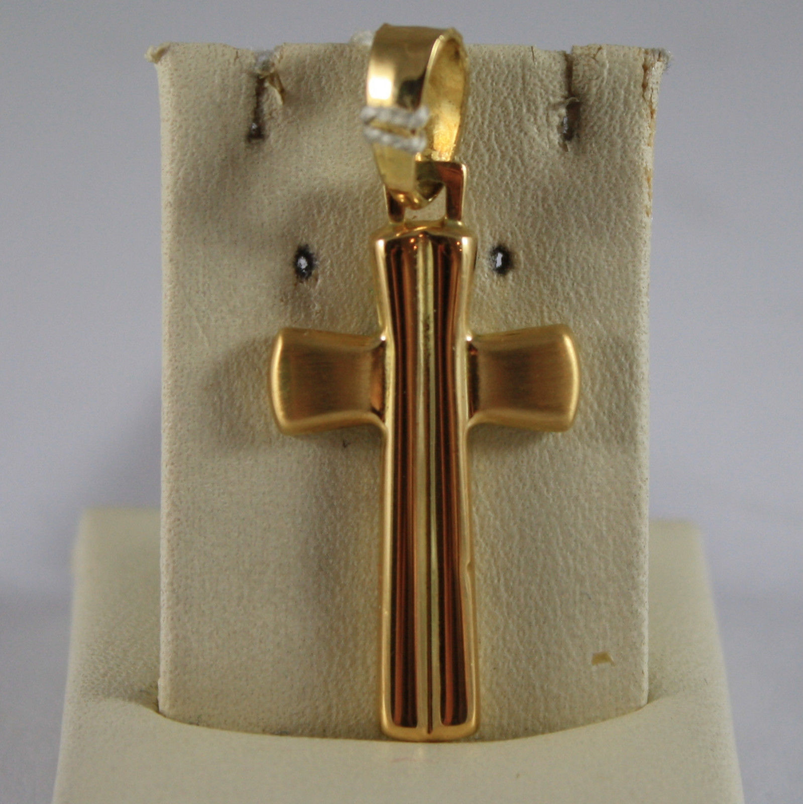 SOLID 18K YELLOW GOLD CROSS PENDANT, LENGTH 1,38 IN MADE IN ITALY