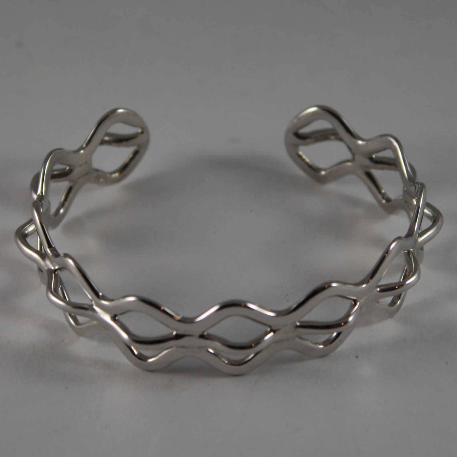 .925 RHODIUM SILVER RIGID BRACELET WITH RUMBLES