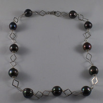 .925 SILVER RHODIUM NECKLACE WITH GRAY PEARLS AND RHOMBUS MESH image 2