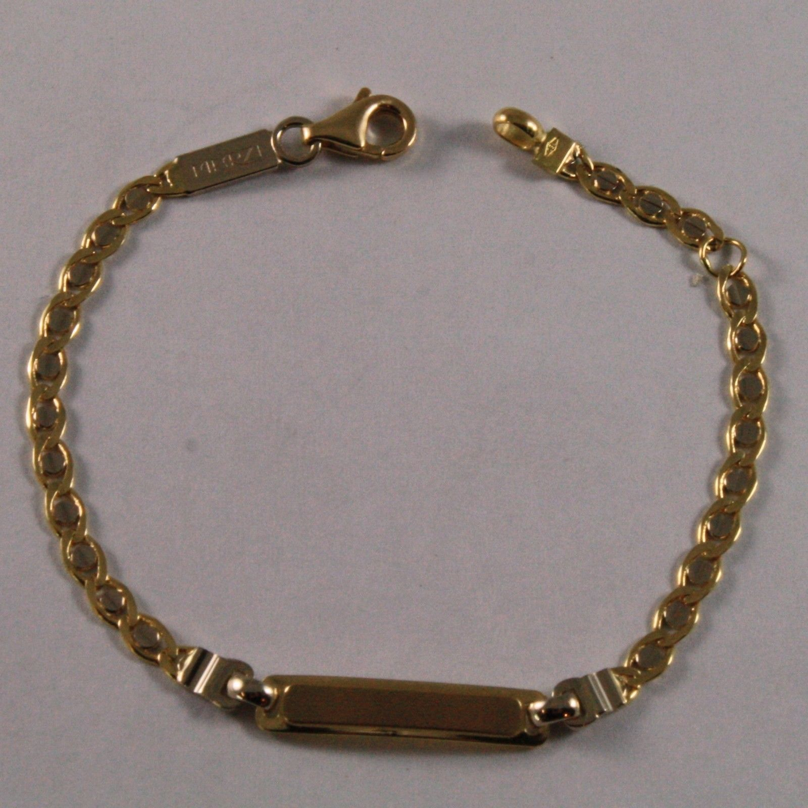 SOLID 18K YELLOW GOLD BRACELET, 5.51 INCHES,ENGRAVING PLATE, FOR CHILDREN.