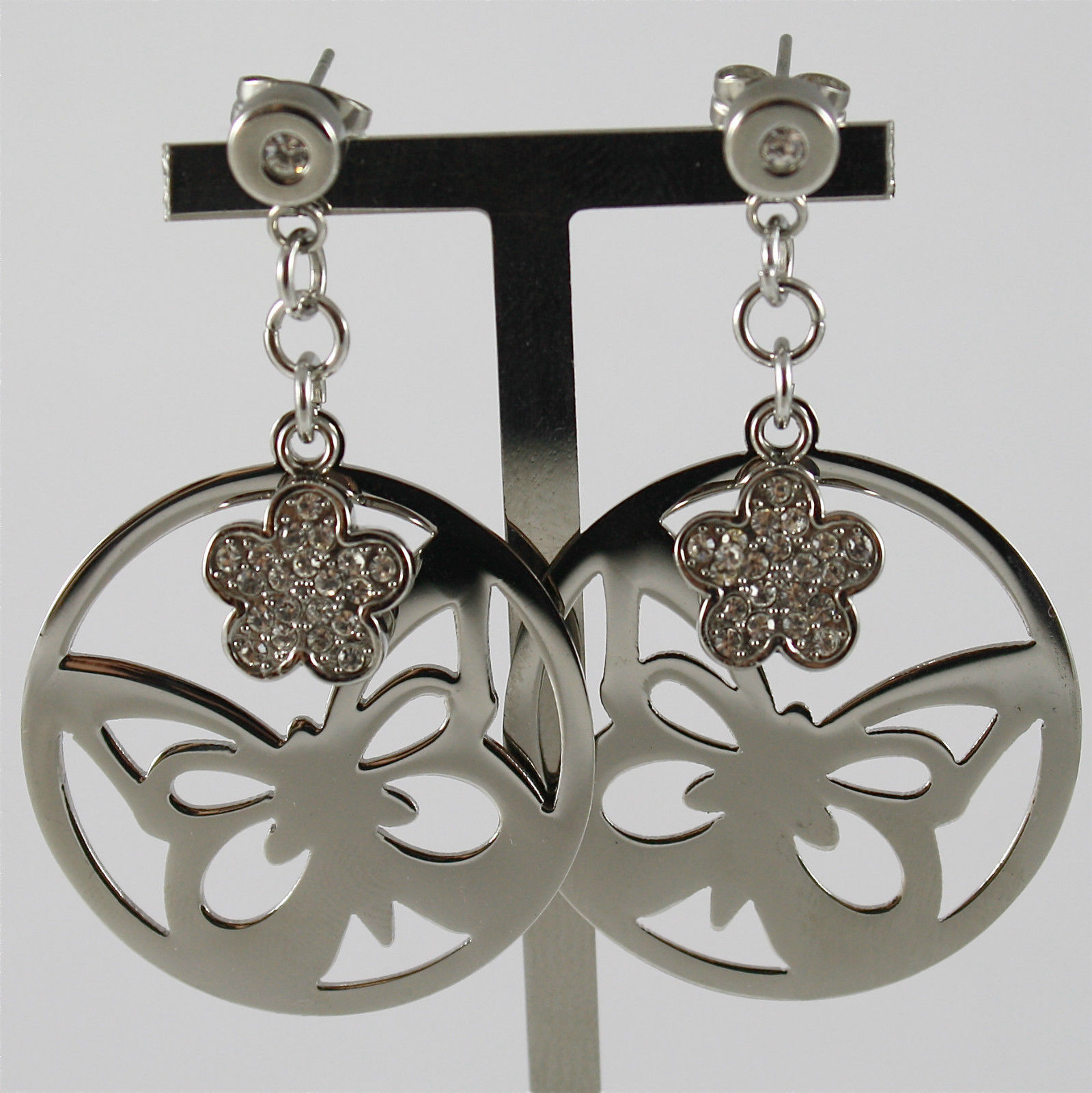 S'AGAPO' EARRINGS, 316L STEEL, BUTTERFLY AND FLOWER, FACETED CRYSTALS.