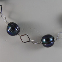 .925 SILVER RHODIUM NECKLACE WITH GRAY PEARLS AND RHOMBUS MESH image 3