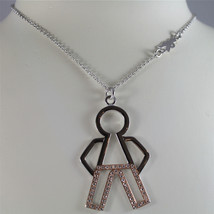 925 SILVER, AQUAFORTE NECKLACE RHODIUM SILVER, ROSE PLATED, ZIRCONIA BABY CHARM image 1