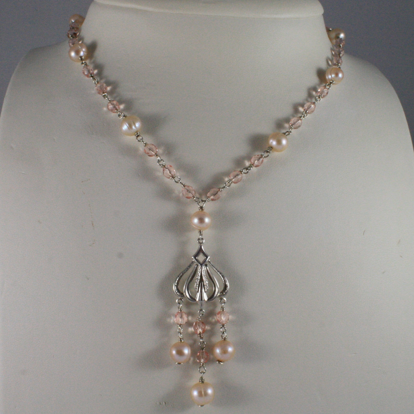 .925 SILVER RHODIUM NECKLACE WITH PINK CRISTALS AND FRESHWATER PINK PEARLS