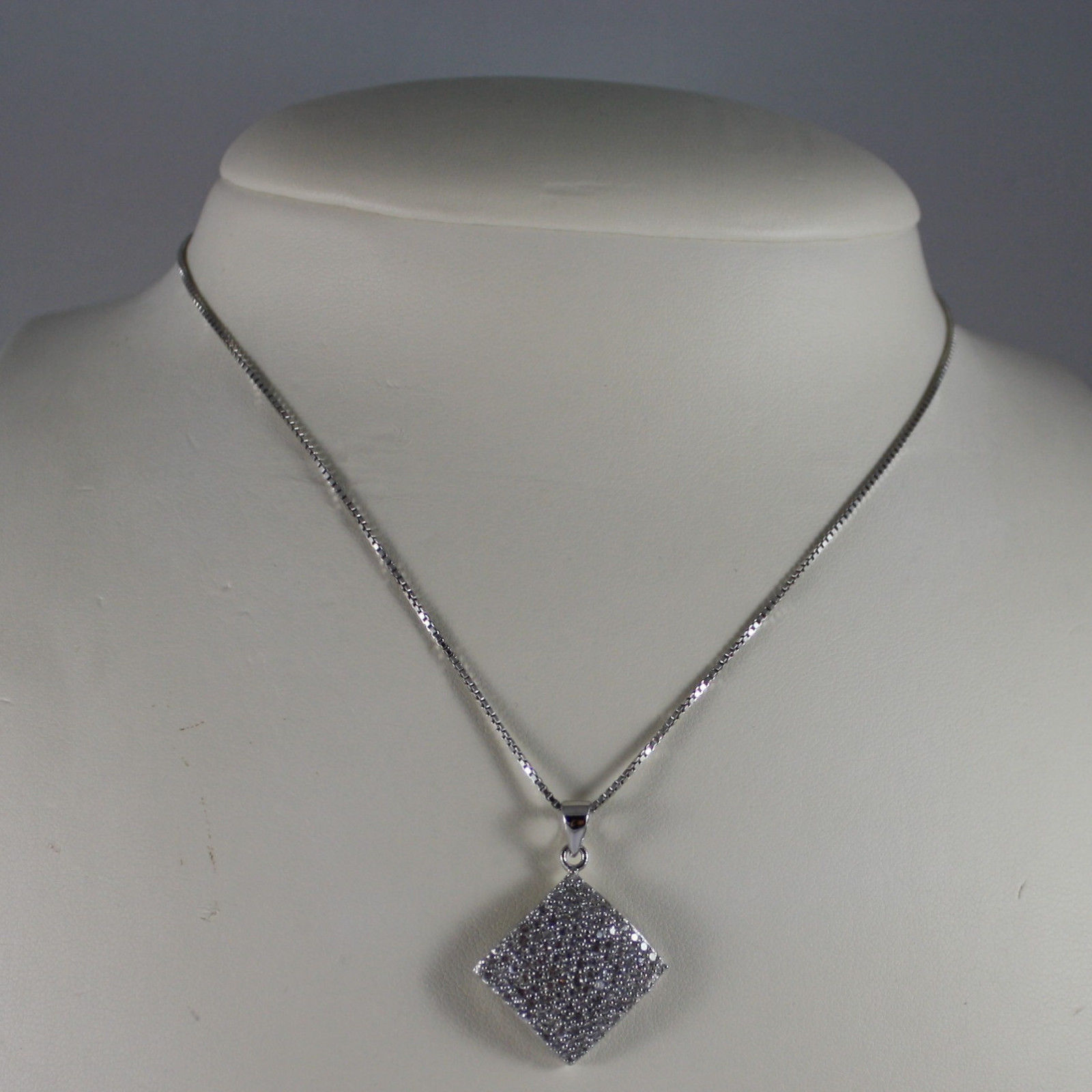 .925 SILVER RHODIUM NECKLACE WITH RHOMBUS WITH ZIRCONIA AND VENETIAN MESH