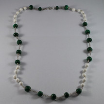 .925 SILVER RHODIUM NECKLACE WITH GREEN MALACHITE AND WHITE AGATE image 2