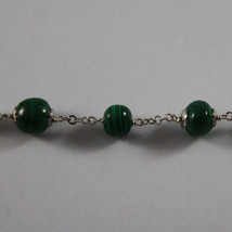 .925 SILVER RHODIUM NECKLACE WITH GREEN MALACHITE AND WHITE AGATE image 4