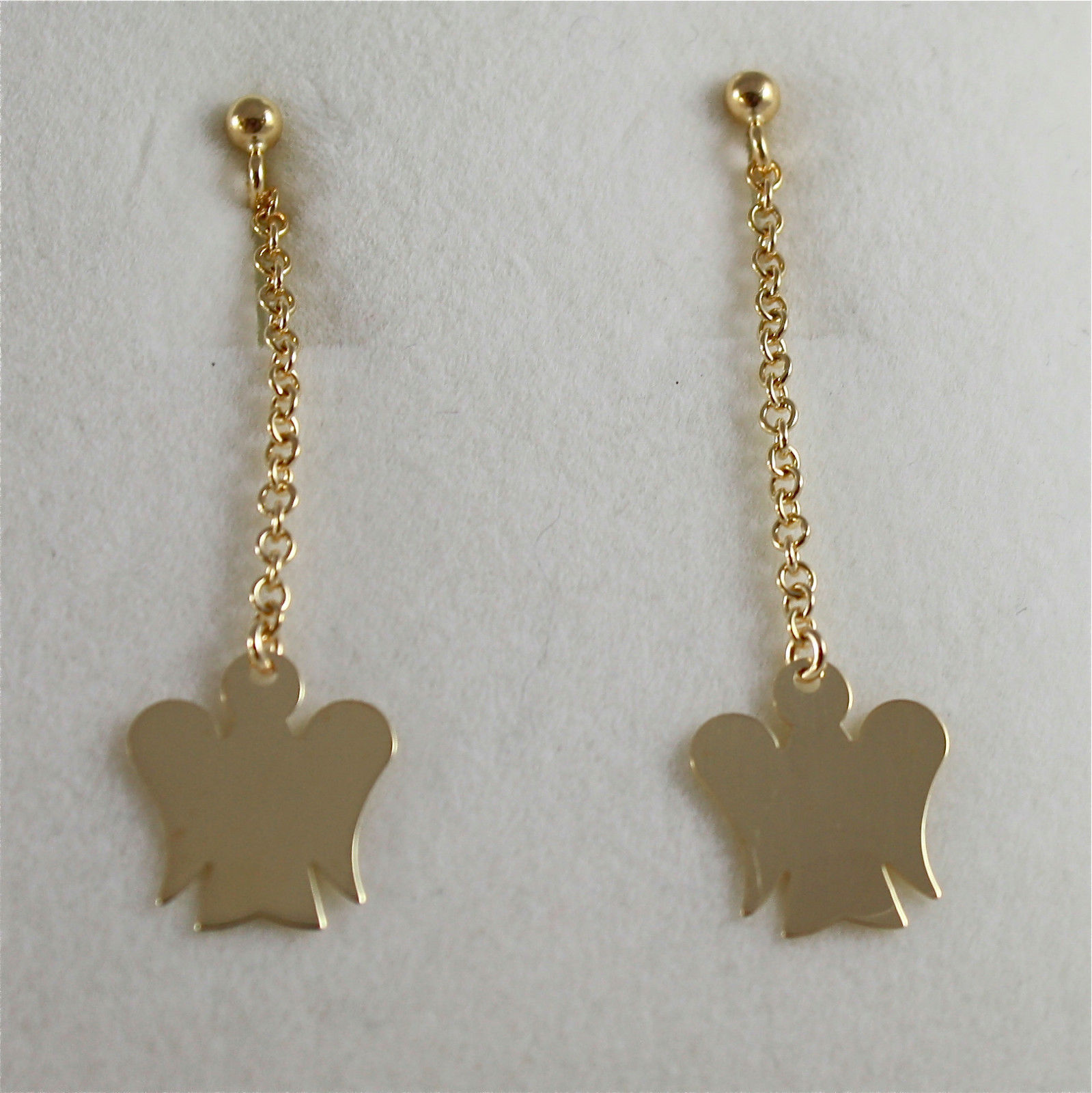 9KT YELLOW GOLD EARRINGS ANGELS PENDANT MADE IN ITALY ROBERTO GIANNOTTI NKT159G