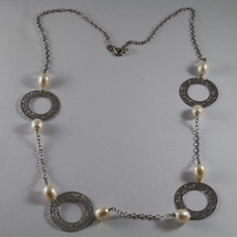 .925 RHODIUM SILVER NECKLACE WITH WHITE PEARLS AND PERFORATED DISC image 2