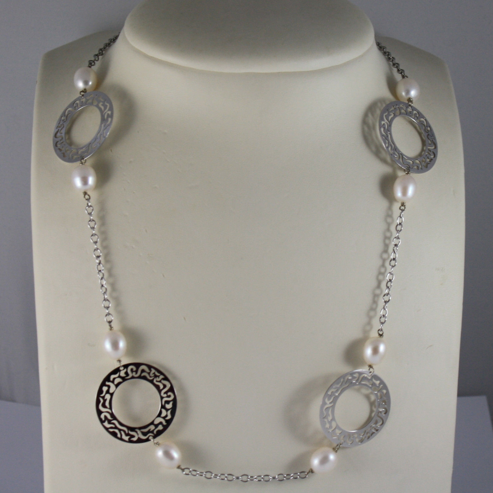 .925 RHODIUM SILVER NECKLACE WITH WHITE PEARLS AND PERFORATED DISC