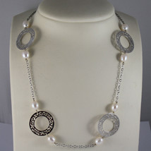 .925 RHODIUM SILVER NECKLACE WITH WHITE PEARLS AND PERFORATED DISC image 1