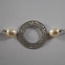 .925 RHODIUM SILVER NECKLACE WITH WHITE PEARLS AND PERFORATED DISC image 3