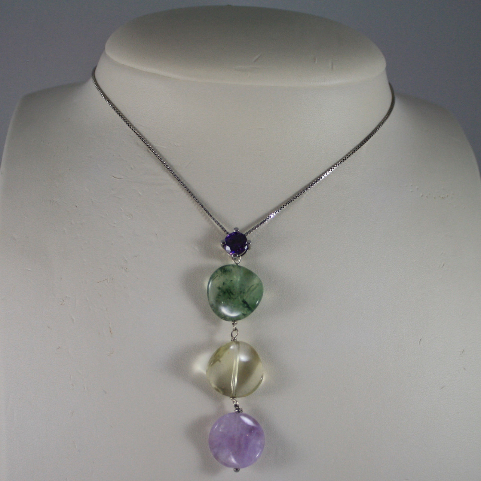 .925 SILVER RHODIUM NECKLACE WITH PURPLE CRYSTAL, AMETHYST AND QUARTZ