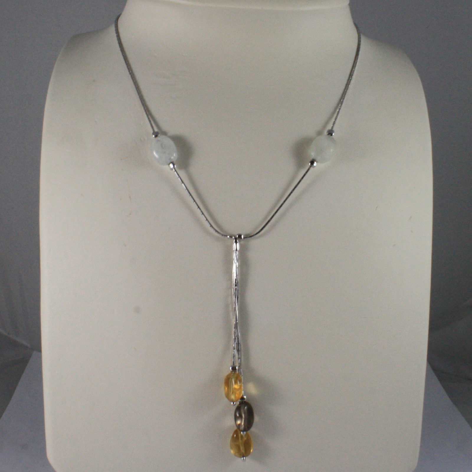 .925 SILVER RHODIUM NECKLACE WITH SMOKY, LEMON AND WHITE QUARTZ