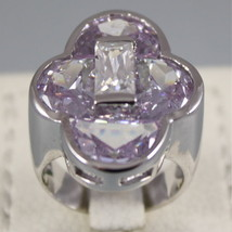 925 RHODIUM SILVER CROSS RING, PURPLE CRISTAL, SPECIAL CUT
