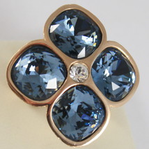 YELLOW BRONZE REBECCA FLOWER BAND RING, BLUE CRYSTAL CT 14.00 MADE IN ITALY