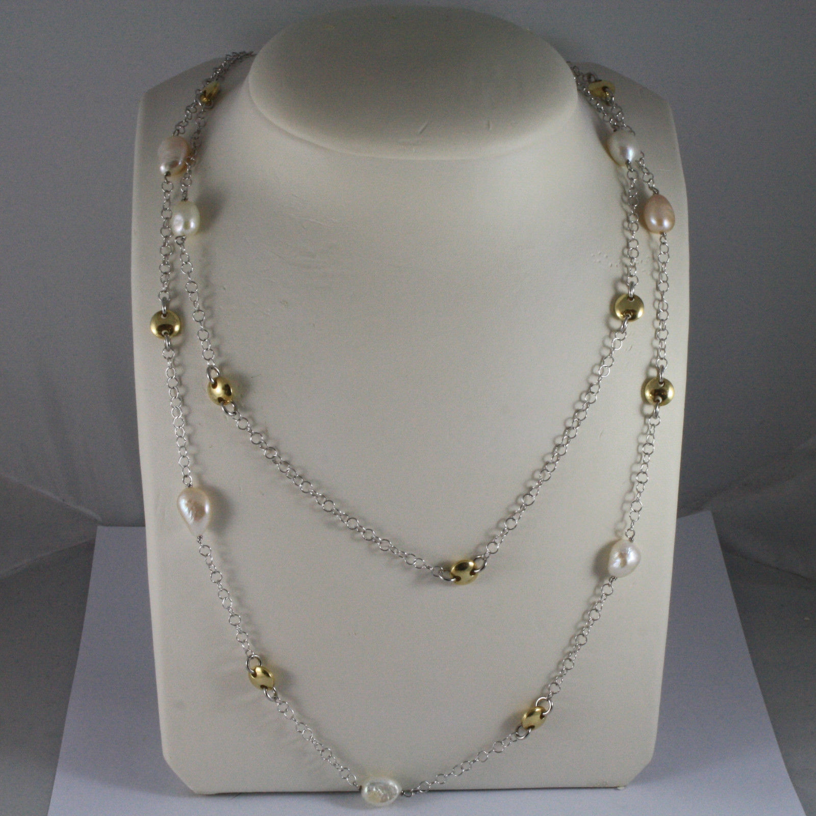 .925 SILVER RHODIUM DOUBLE WIRE NECKLACE WITH BAROQUE PEARLS AND YELLOW DISC