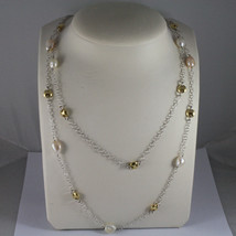 .925 SILVER RHODIUM DOUBLE WIRE NECKLACE WITH BAROQUE PEARLS AND YELLOW DISC image 1