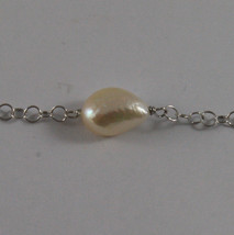 .925 SILVER RHODIUM DOUBLE WIRE NECKLACE WITH BAROQUE PEARLS AND YELLOW DISC image 4