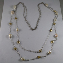 .925 SILVER RHODIUM DOUBLE WIRE NECKLACE WITH BAROQUE PEARLS AND YELLOW DISC image 2