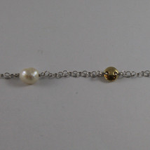 .925 SILVER RHODIUM DOUBLE WIRE NECKLACE WITH BAROQUE PEARLS AND YELLOW DISC image 3
