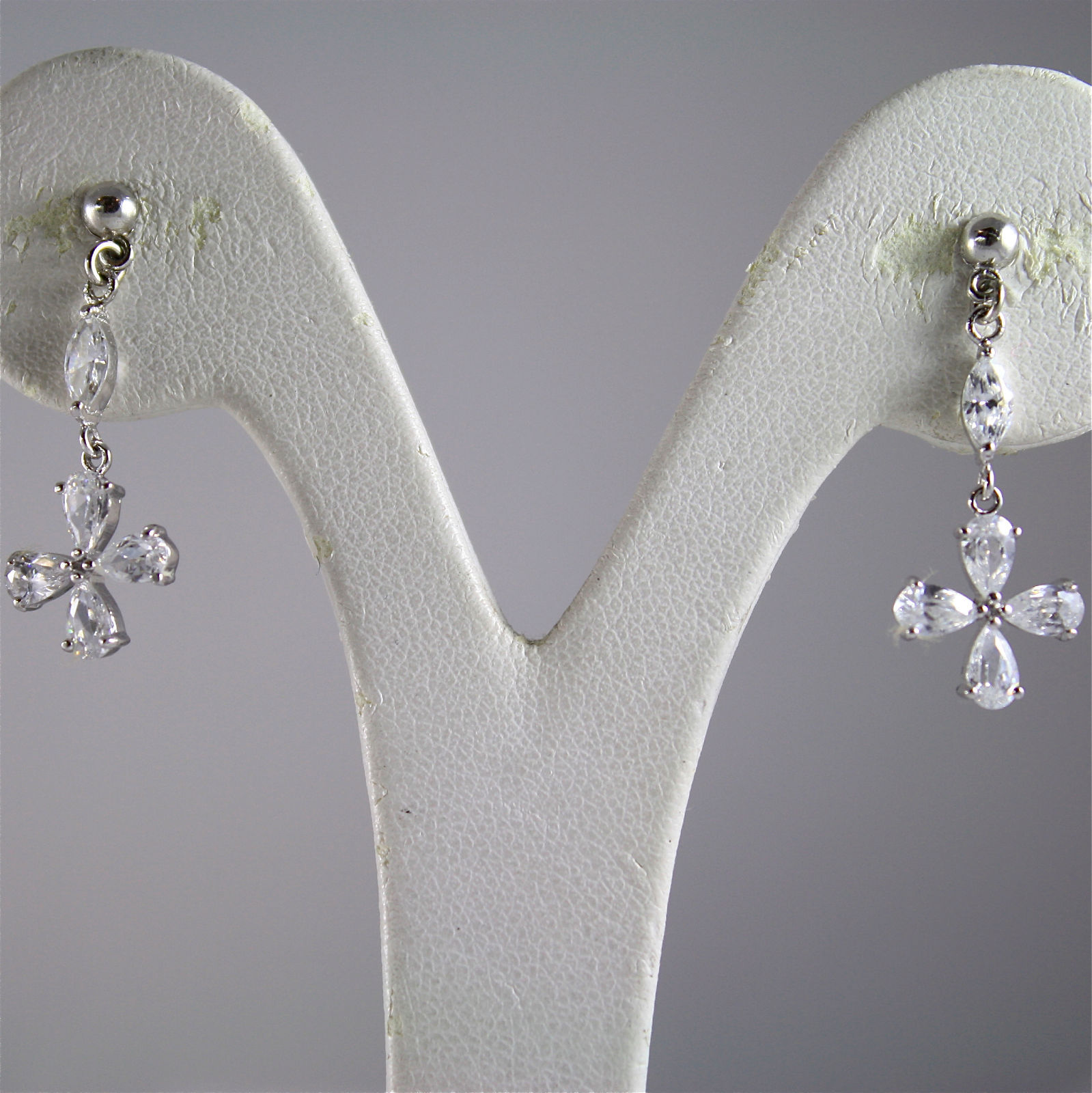 .925 RHODIUM SILVER EARRINGS, PENDANT, STYLIZED CROSS IN FACETED ZIRCONIA