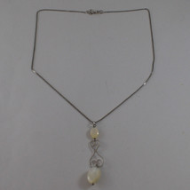 .925 SILVER RHODIUM NECKLACE WITH OVAL MOTHER OF PEARL image 2