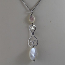 .925 SILVER RHODIUM NECKLACE WITH OVAL MOTHER OF PEARL image 3