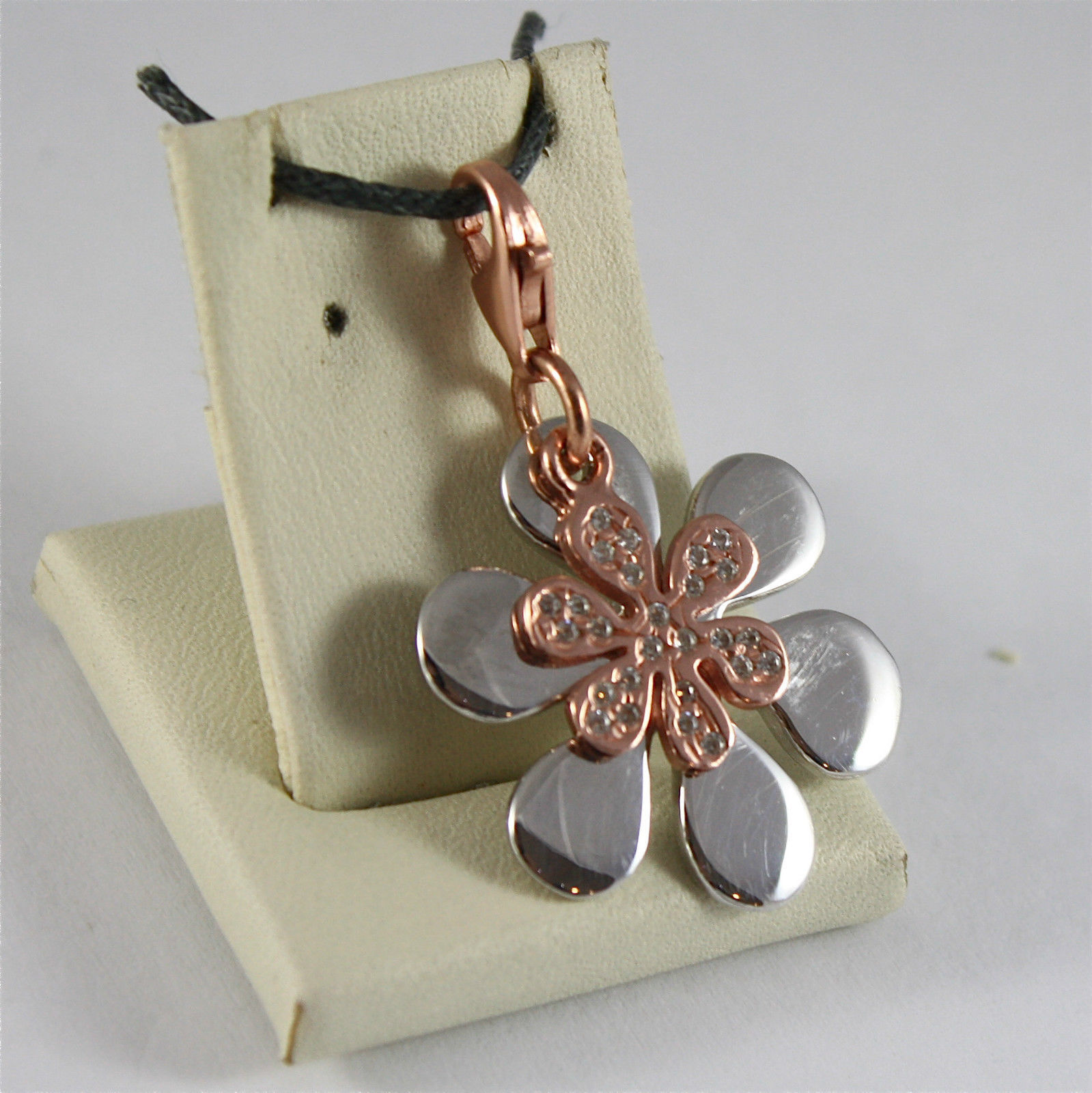 925 SILVER, AQUAFORTE PENDANT, RHODIUM SILVER, ROSE PLATED FLOWERS, ZIRCONIA.