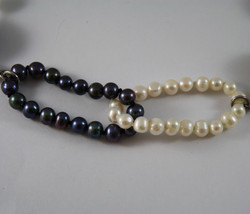 .925 SILVER RHODIUM MULTI STRAND NECKLACE WITH WHITE AND BLUE PEARLS image 4