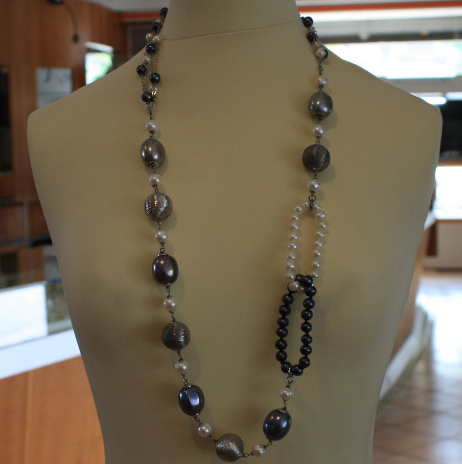 .925 SILVER RHODIUM MULTI STRAND NECKLACE WITH WHITE AND BLUE PEARLS