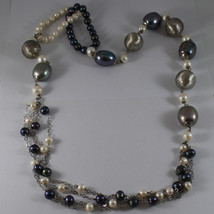 .925 SILVER RHODIUM MULTI STRAND NECKLACE WITH WHITE AND BLUE PEARLS image 2