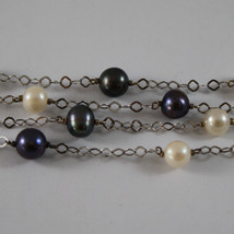 .925 SILVER RHODIUM MULTI STRAND NECKLACE WITH WHITE AND BLUE PEARLS image 3