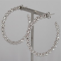 925 RODIUM SILVER OFFICINA BERNARDI EARRINGS, FACETED BALLS MADE IN ITALY 4,1 CM