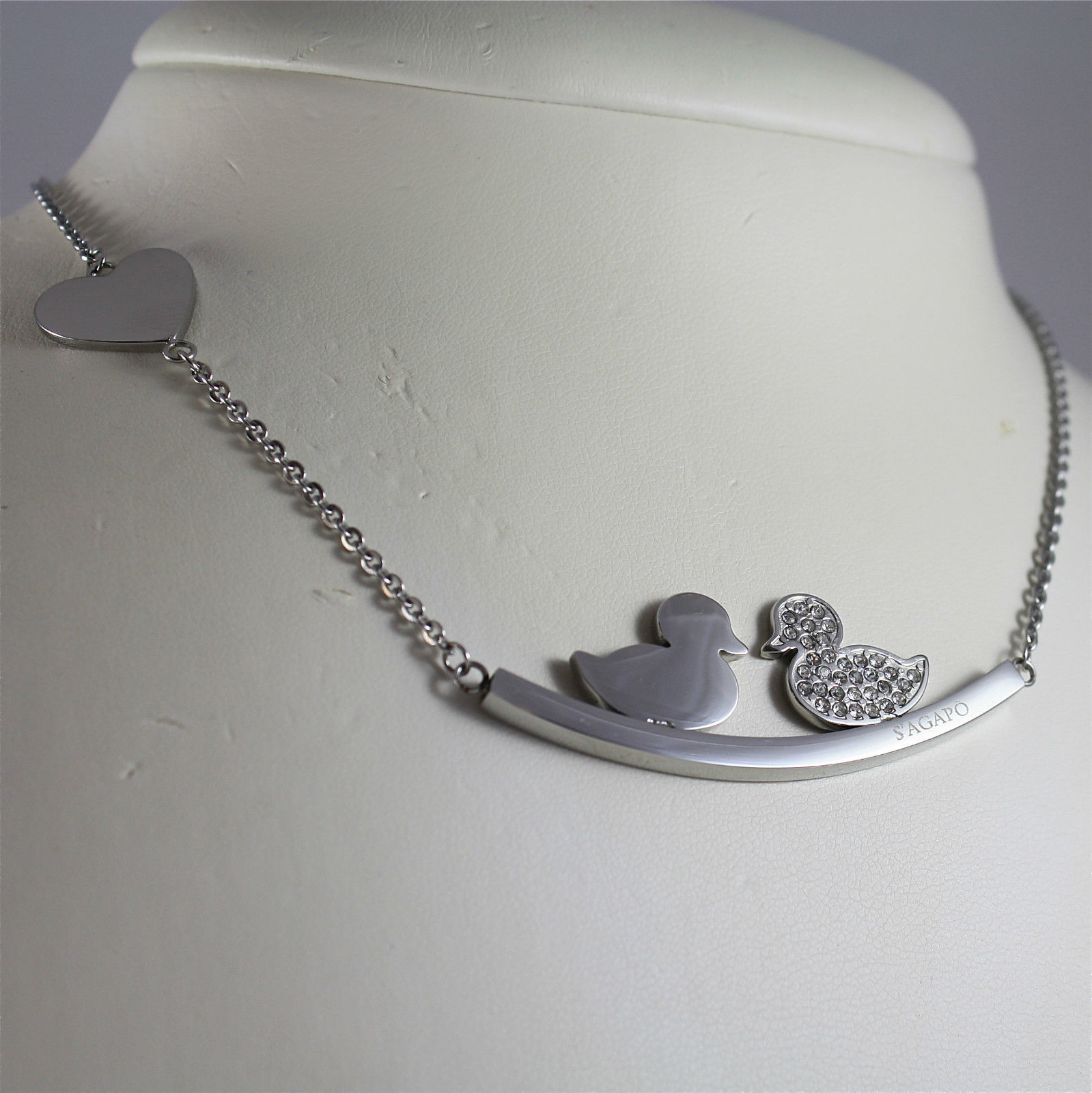 S'AGAPO' NECKLACE, 316L STEEL, KISSING DUCKS, FACETED CRYSTALS.