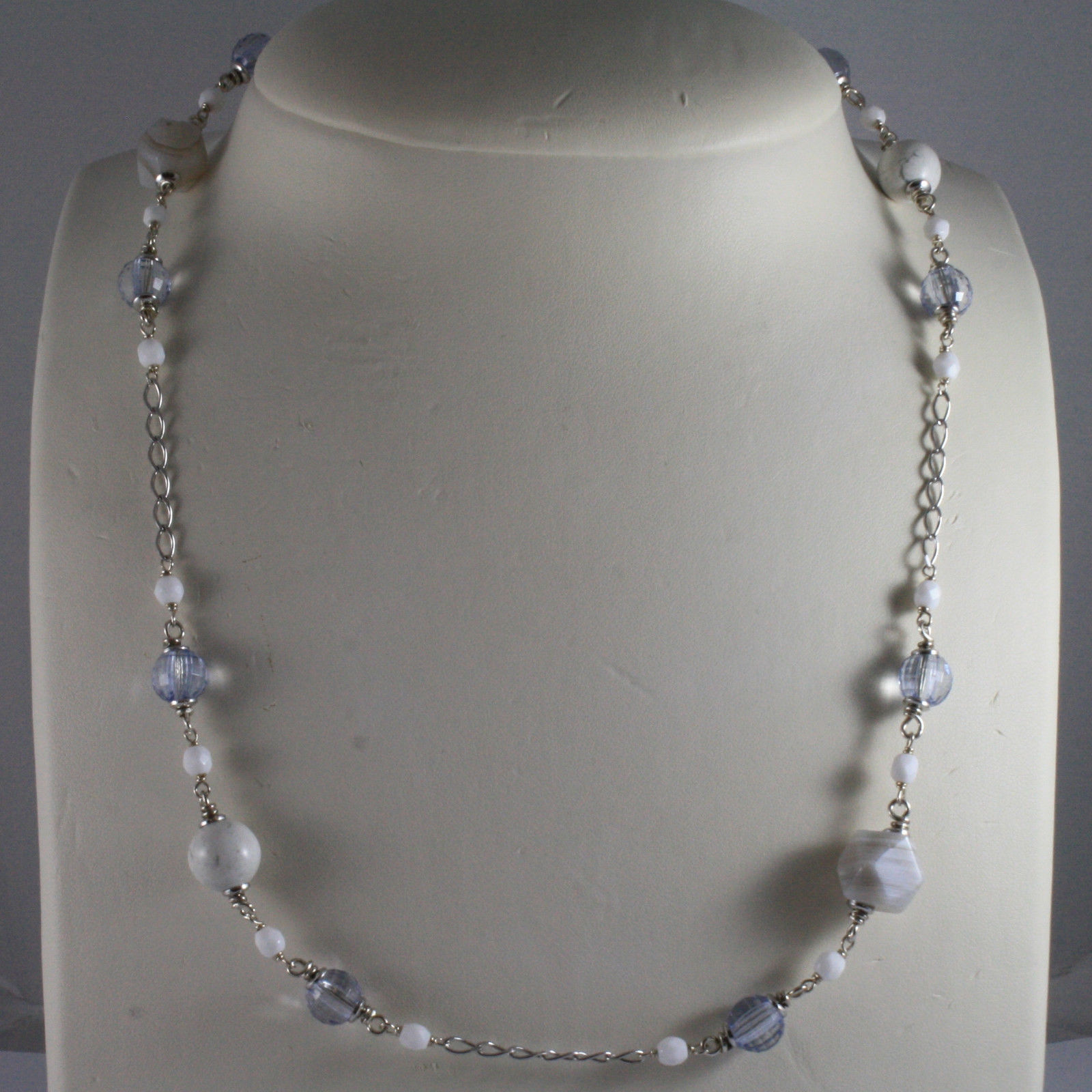 .925 SILVER RHODIUM NECKLACE WITH BLUE CRISTALS, WHITE AGATE, HOWLITE CHALCEDONY