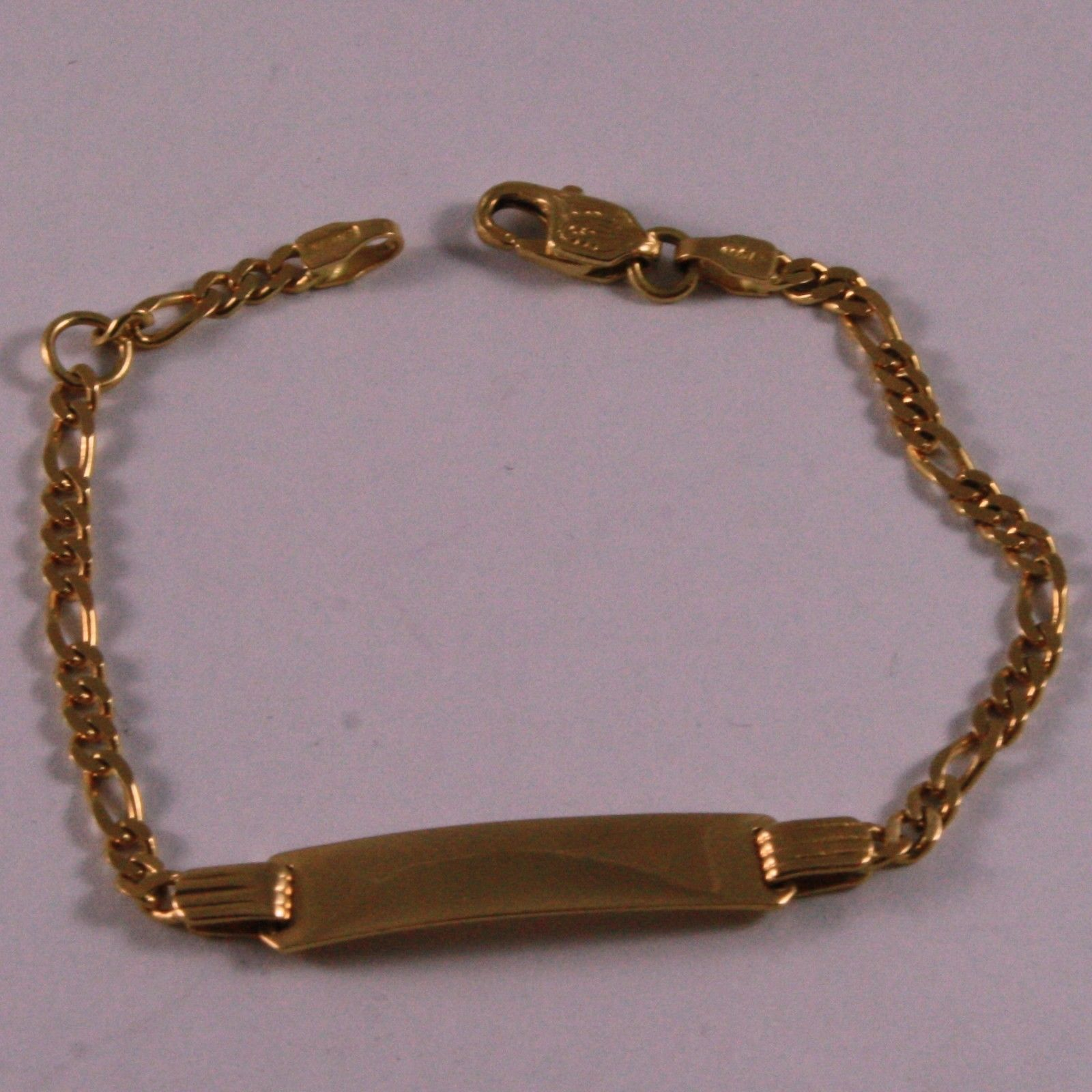 SOLID 18K YELLOW GOLD BRACELET, 5.5 INCHES, ENGRAVING PLATE, FOR CHILDREN.