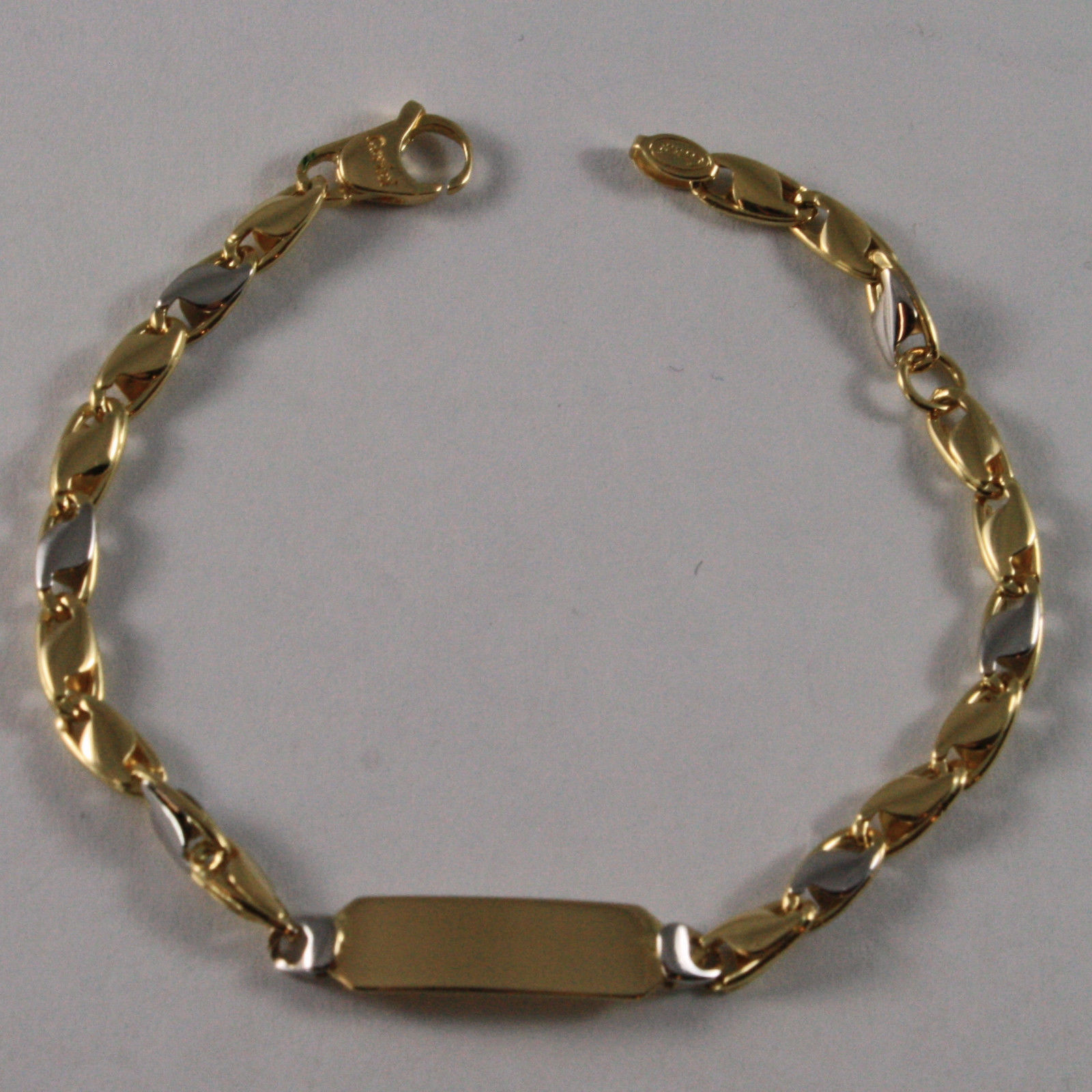 SOLID 18K WHITE & YELLOW GOLD BRACELET, 5.91 INCHES, ENGRAVING PLATE, FOR CHILD.