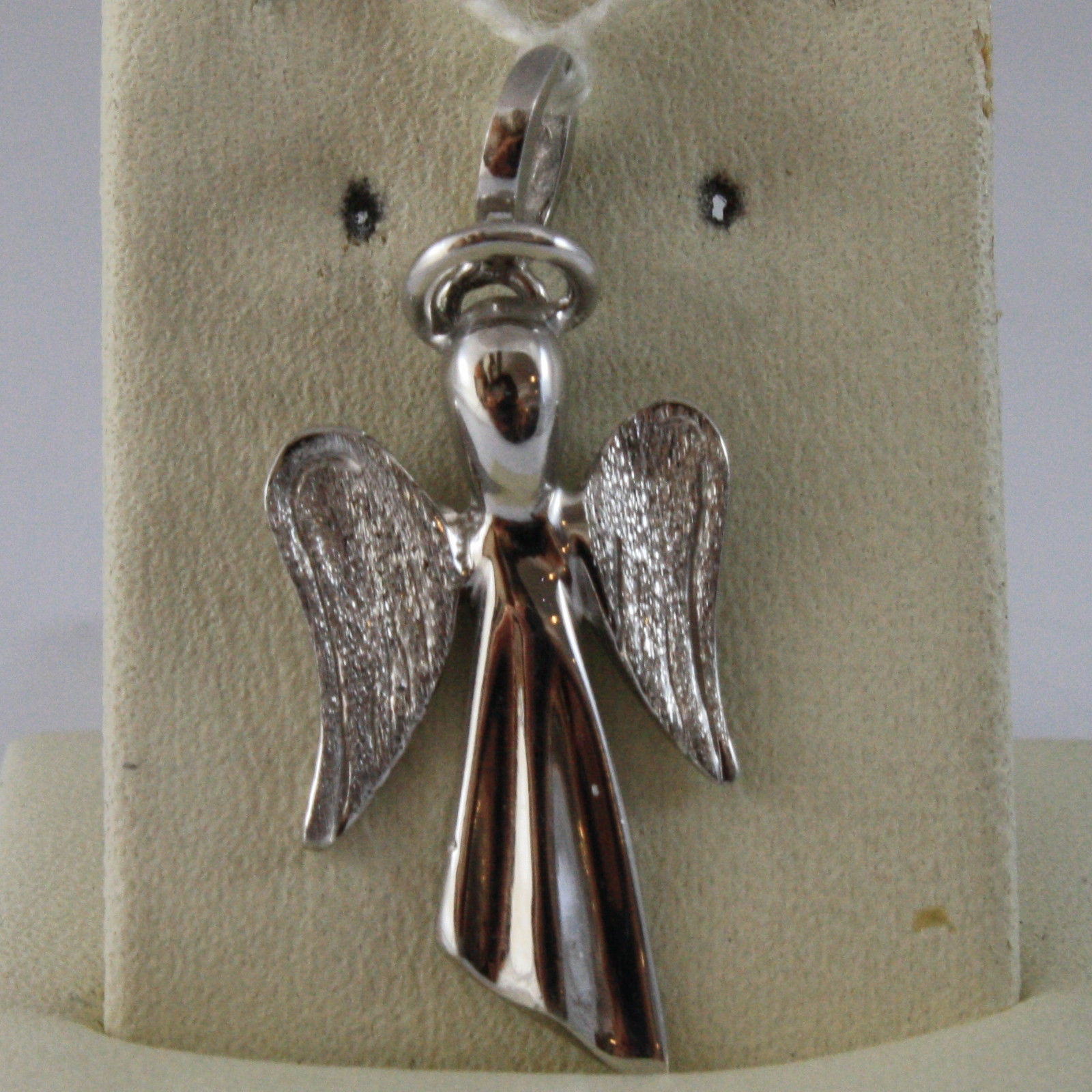 SOLID 18K WHITE GOLD PENDANT, POLISHED AND SATIN, GUARDIAN ANGEL MADE IN ITALY