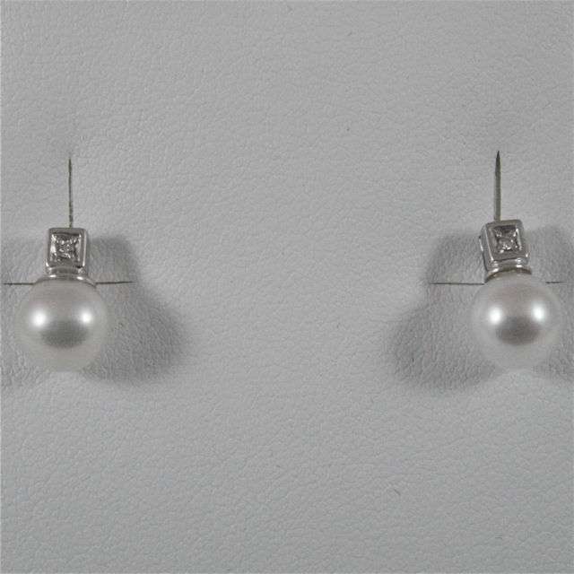 18K WHITE GOLD DIAMONDS (CT 0.04) EARRINGS WITH WHITE PEARLS, MADE IN ITALY
