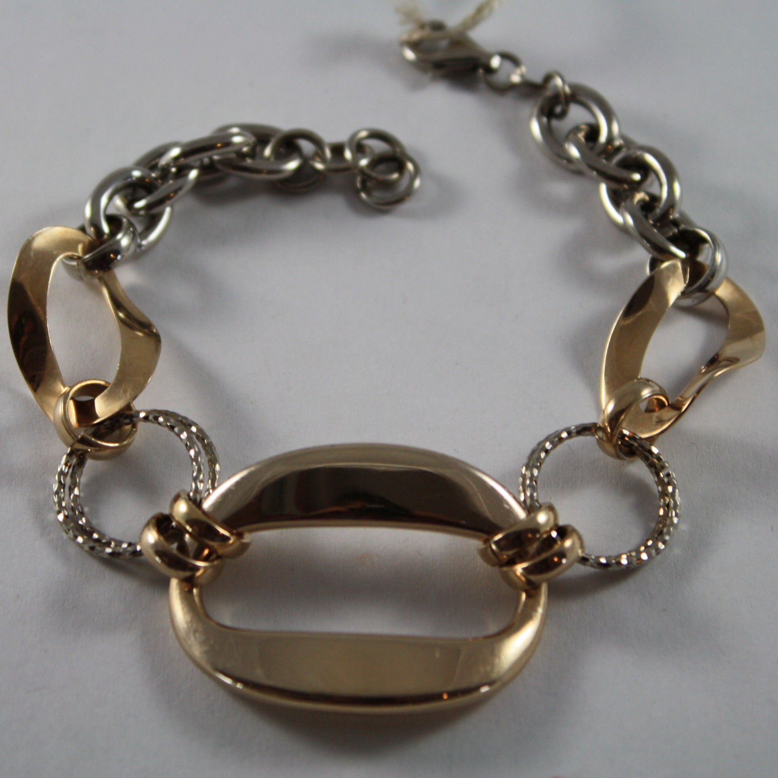.925 RHODIUM SILVER AND ROSE GOLD PLATED BRACELET WITH OVAL AND CIRCLES