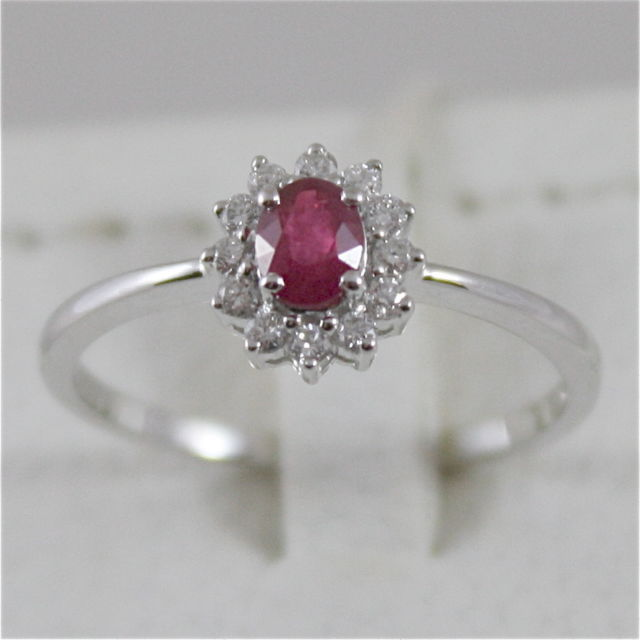 18K WHITE GOLD DIAMOND RUBY RING MADE IN ITALY