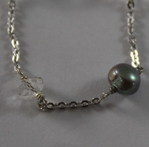 .925 RHODIUM SILVER BRACELET WITH GRAY PEARLS AND TRANSPARENT CRISTAL image 2