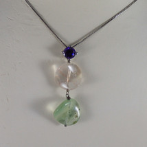 .925 SILVER RHODIUM NECKLACE WITH PURPLE CRYSTALS, YELLOW AND GREEN QUARTZ image 3