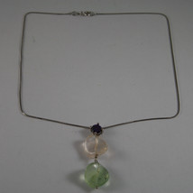 .925 SILVER RHODIUM NECKLACE WITH PURPLE CRYSTALS, YELLOW AND GREEN QUARTZ image 2