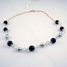 .925 SOLID STERLING SILVER NECKLACE WITH ONYX AND PEARLS image 1