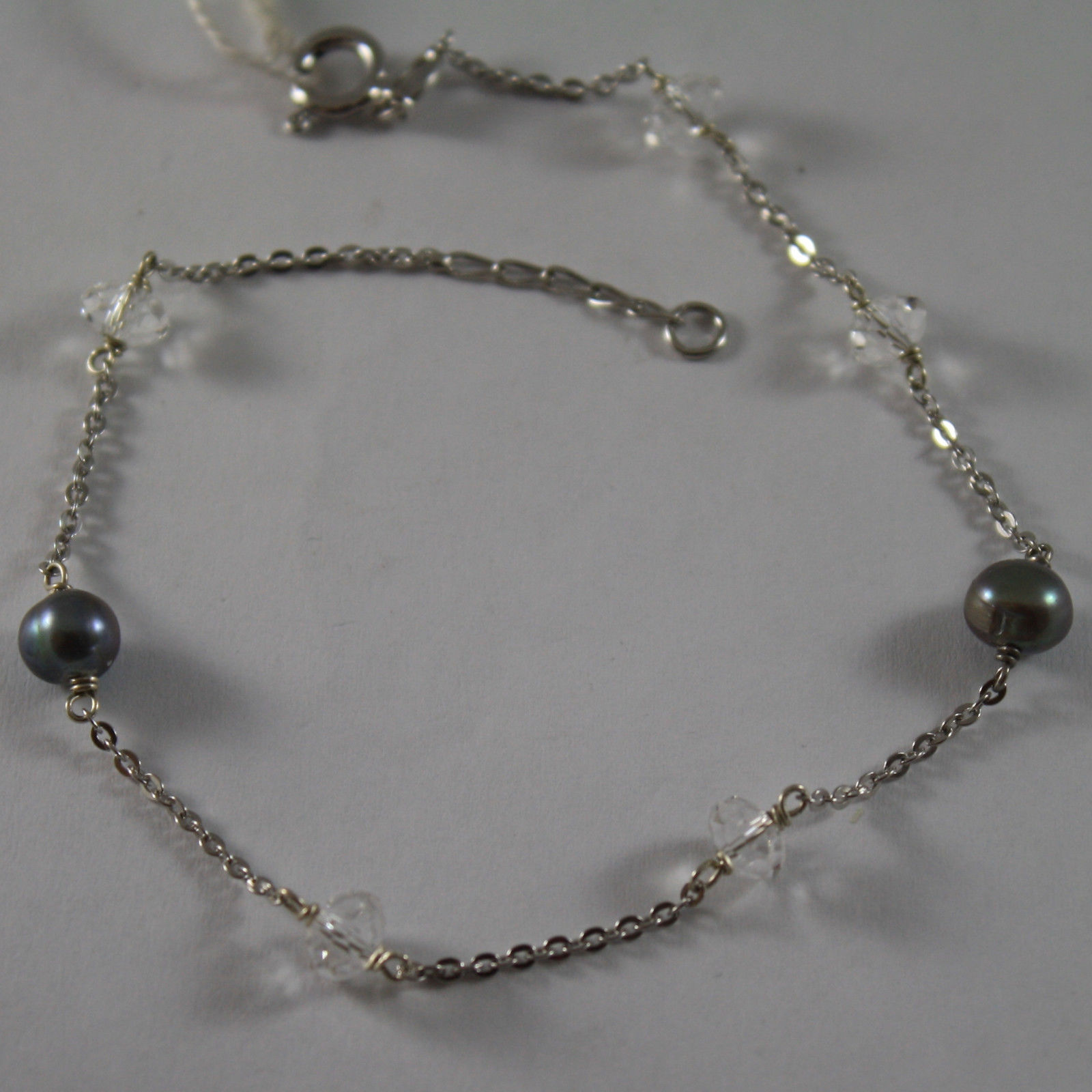 .925 RHODIUM SILVER BRACELET WITH GRAY PEARLS AND TRANSPARENT CRISTAL