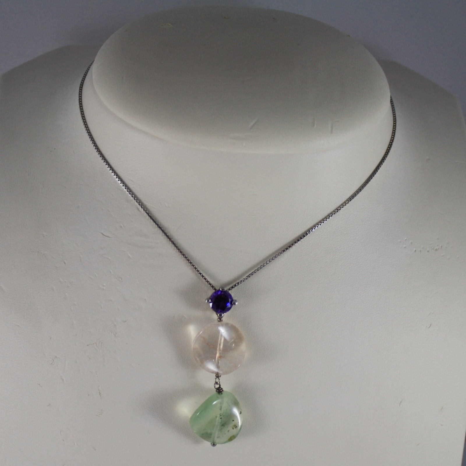 .925 SILVER RHODIUM NECKLACE WITH PURPLE CRYSTALS, YELLOW AND GREEN QUARTZ